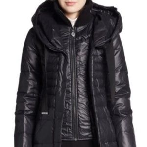 Elle Tahari Black Quilted Duck Down Parka Jacket